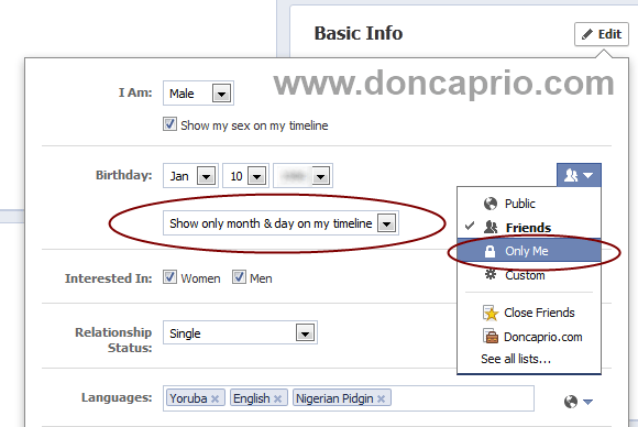 hide your birthday from facebook profile