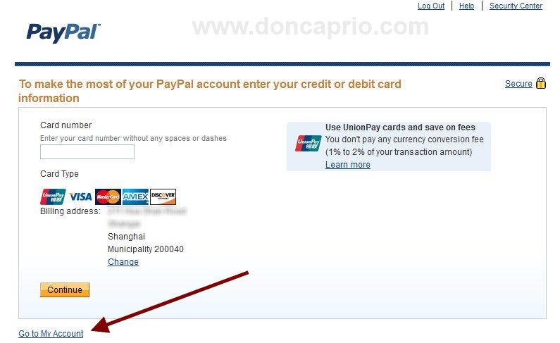 paypal credit card prompt