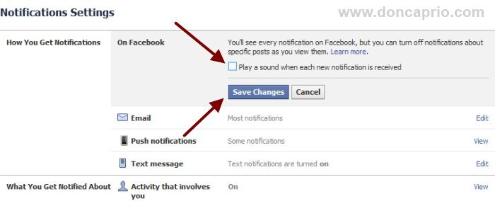 how to change notification sound on facebook