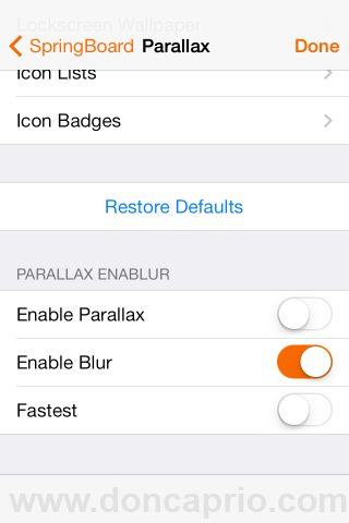 disable parallax effect on iOS 7