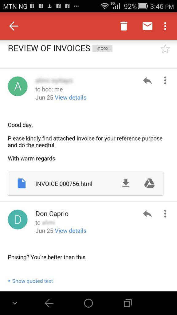 Phishing email with HTML attachment