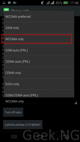 select wcdma only on android