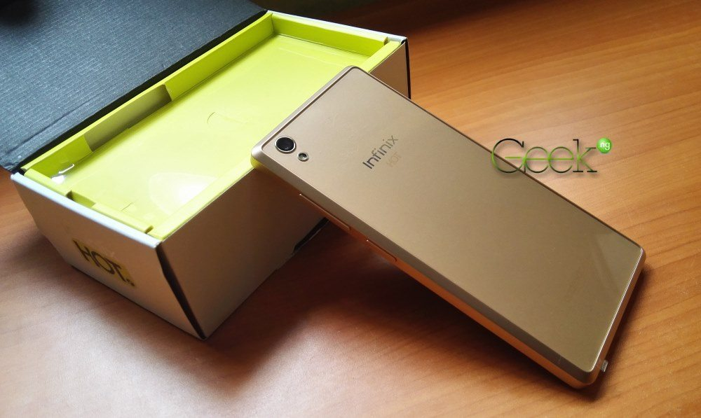 Infinix Hot 2 with glassy back cover