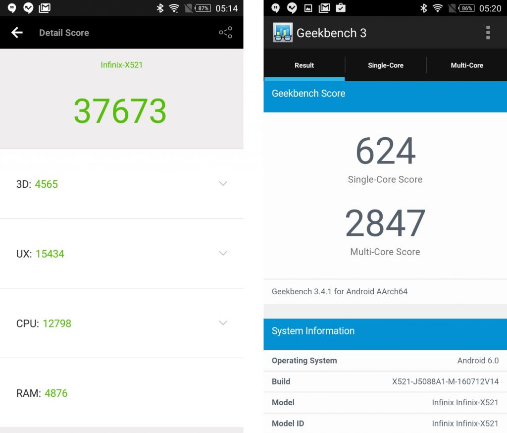 benchmark scores for infinix hot s