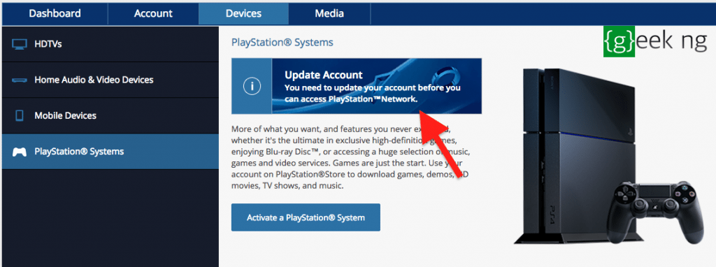 update PSN account