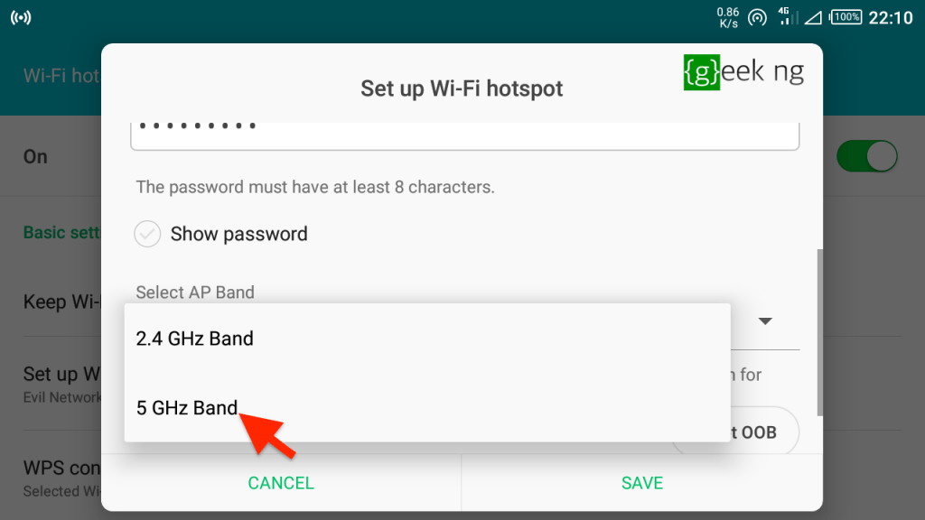 android hotspot settings