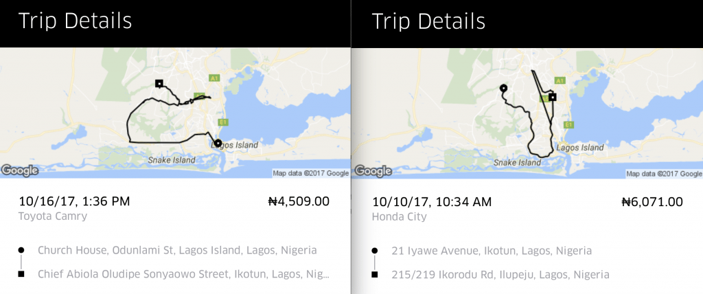 uber inflated fare