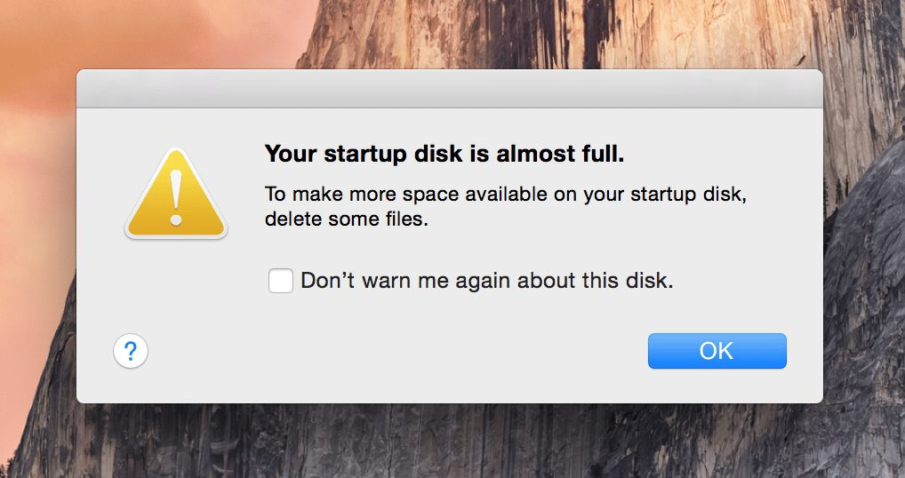 disk full on macos