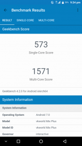 Vkworld Mix Plus Geekbench scores