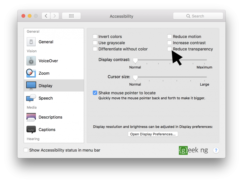 reduced transparency mac