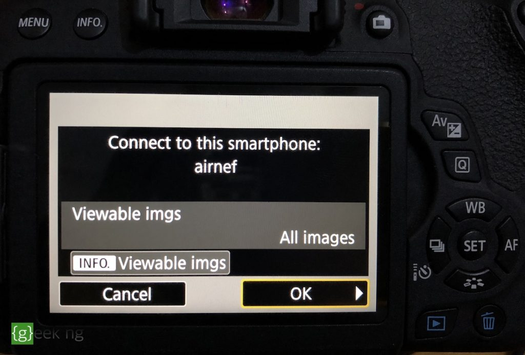 connect to airnef on canon eos rebel t6i