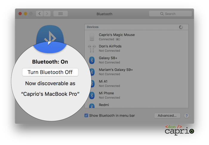 bluetooth settings macOS