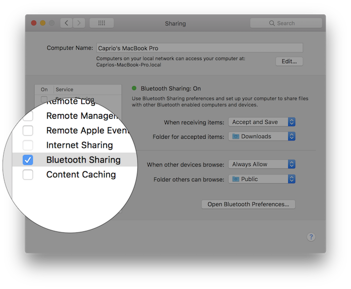 enable bluetooth sharing macos