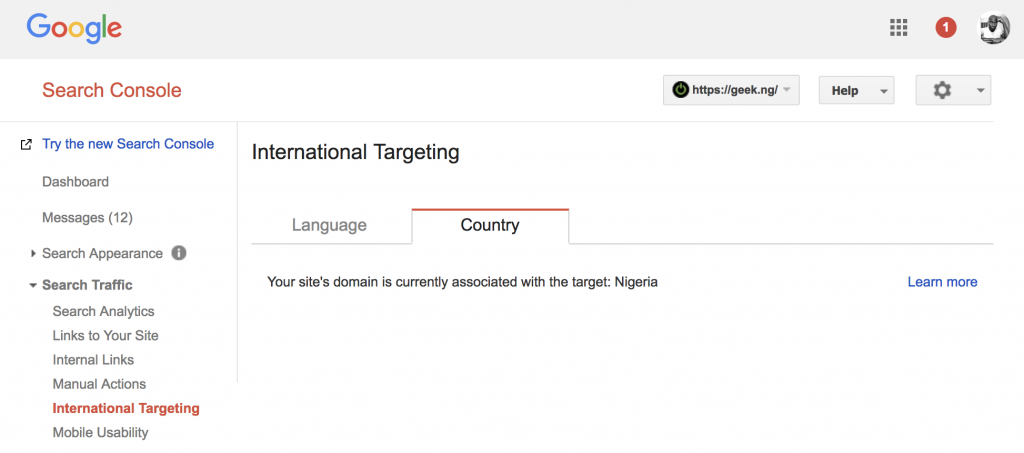 webmaster tools ccTLD international targeting...