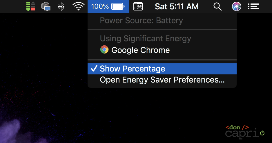 battery percentage macos