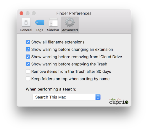 finder advanced settings
