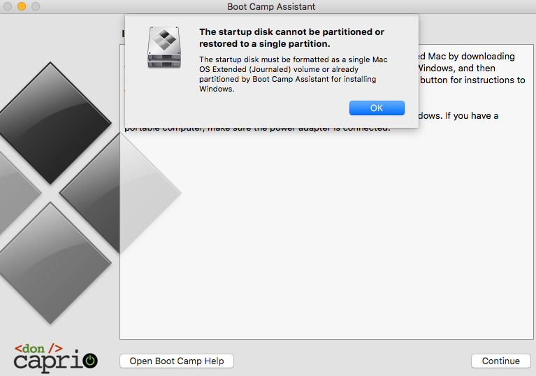 startup disk cannot be partitioned